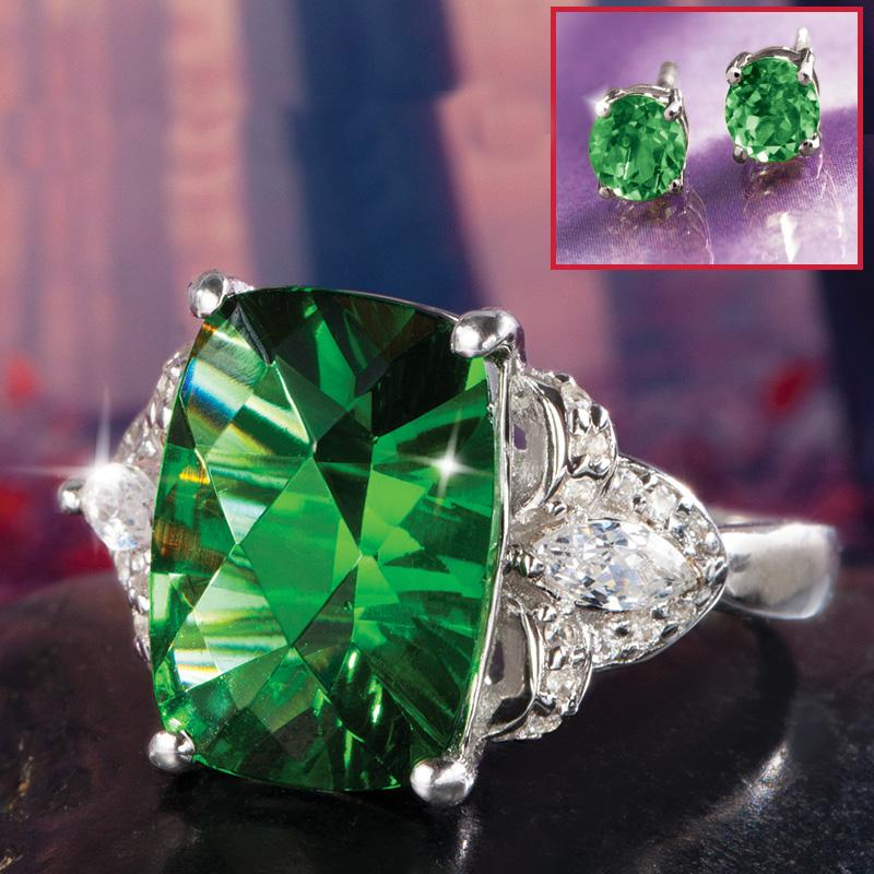 Spirit Lake Helenite Ring Stud Earrings Set