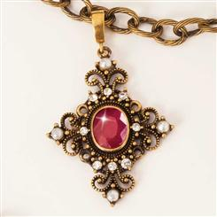 Trinity Cross Avellan Ruby & Chain