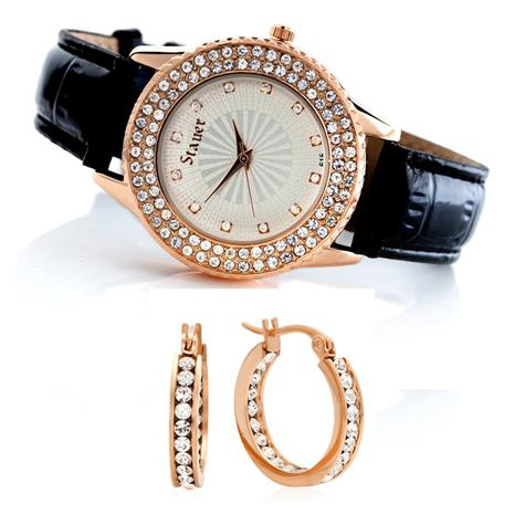 Stauer Sirene Watch & Earrings Set