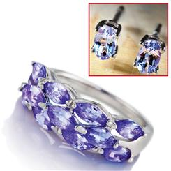 Tanzanite Lightning Ring & Earrings Set