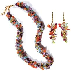 Gemstone Fiesta Necklace and Earrings Set