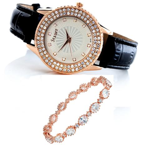 Sirene Watch and Rose Gold-finished Riviere Bracelet Set