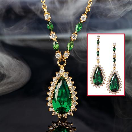 Helenite Teardrop Necklace & Earrings Set