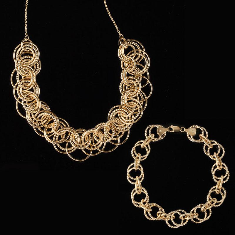 14K Yellow Gold Golden Circle Necklace & Bracelet