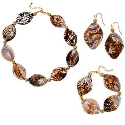 Abstract Agate Necklace, Bracelet & Earrings Set