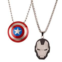 "Captain America 22"" Necklace & Iron Man 24"" Necklace Set"