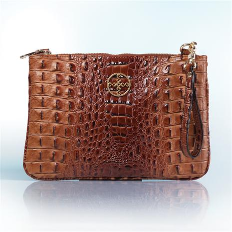 Sloane Crocodile-Embossed Clutch