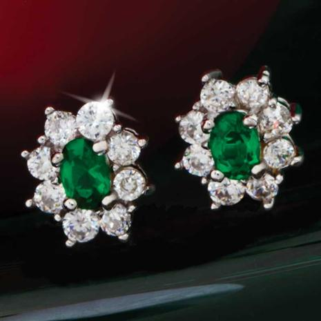 Diamond<em>Aura</em>&reg; Green Blossom Earrings