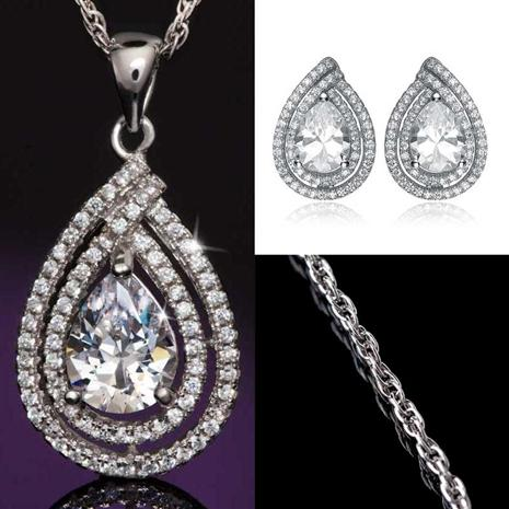 Diamondaura Anjou Tear Drop Necklace Earring Set