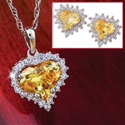 Heart of Gold Yellow Diamond<em>Aura</em>&reg; Pendant, Chain & Earrings Set