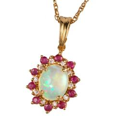 Opal & Ruby Royal Romance Pendant