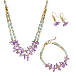Dual Monarchy Amethyst Necklace, Earring and Bracelet Set