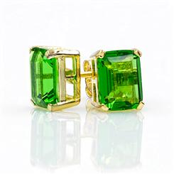 Helenite Rectangle Stud Earrings