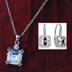 Sparkle Squared Necklace & Earrings Set