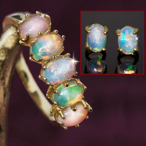 Five-Star Opal Anniversary Ring & Earrings Set