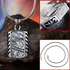 Stauer Meteorite Pendant, Chain Set & Ring