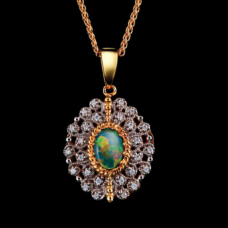 Fire and Ice Opal Necklace