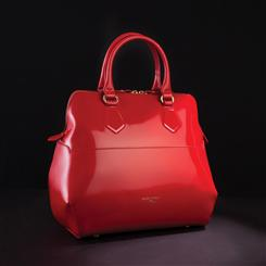 Aurora Italian Leather Handbag (Candy Apple Red)