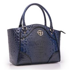 Crocodile-Embossed Blue Handbag