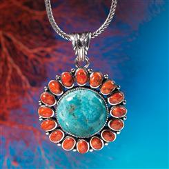 Turquoise & Coral Oasis Pendant