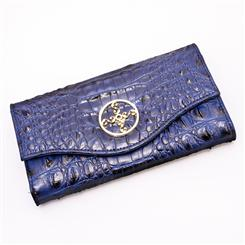 Crocodile-Embossed Blue Wallet