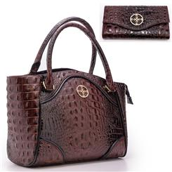 Avalon Crocodile-Embossed Handbag and Wallet Set