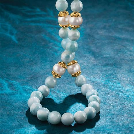 Larimar and Cultured Freshwater Pearl Necklace