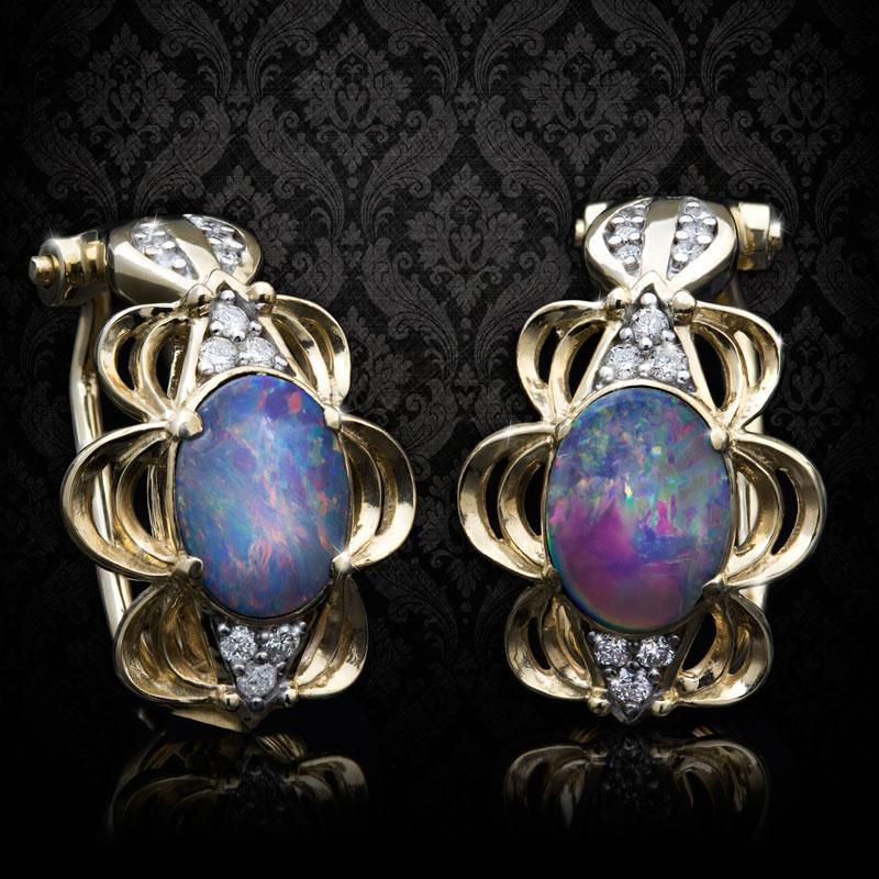 10K Yellow Gold Australian Opal Doublet Earrings