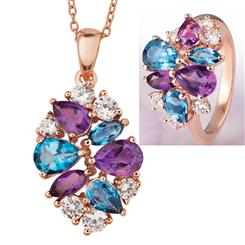 Amethyst & Blue Topaz Necklace & Ring Set