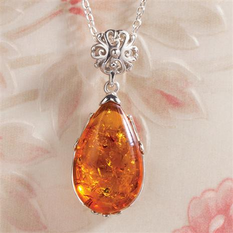 pendant silver necklace sterling amber natural honey products sweet baltic emavera drop