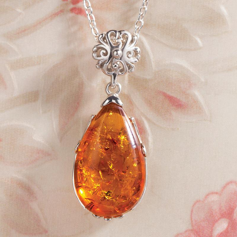 Teardrop Amber Necklace 31184