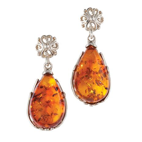 Teardrop Amber Earrings