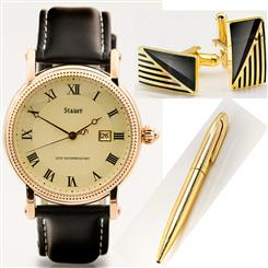 Stauer® Buttonwood Watch, Cufflinks & Pen Set