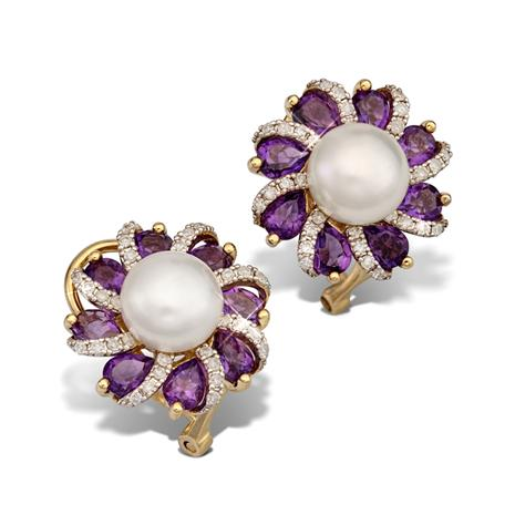 10K Yellow Gold Earrings With Fresh Water Pearl And Amethyst