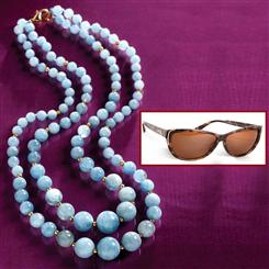 Maré Aquamarine Necklace & FREE Stauer Hāna Sunglasses
