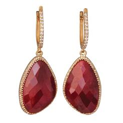 Red Lotus Ruby Earrings