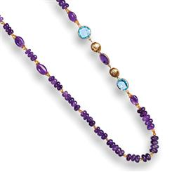 Amethyst & Blue Topaz Sugarplum Necklace