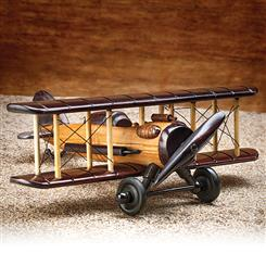 Hand carved Pinewood WWI Bi-Plane