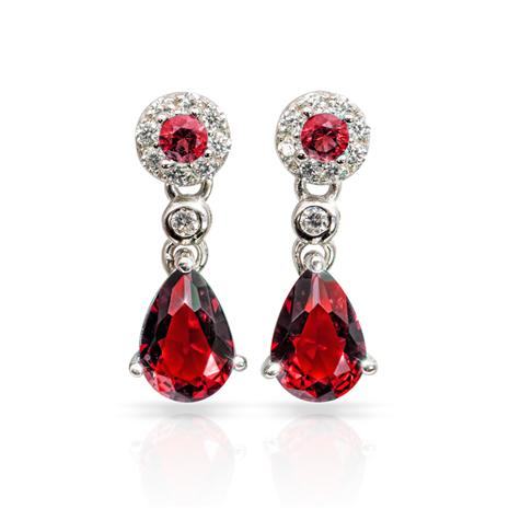Gemdrop DiamondAura Earrings - Ruby Red