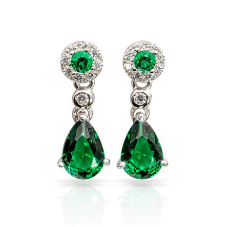 Gemdrop Earrings in Emerald Green