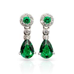 Gemdrop DiamondAura Earrings - Emerald Green