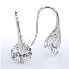 DiamondAura Solitaire Drop Earrings - Sterling Silver