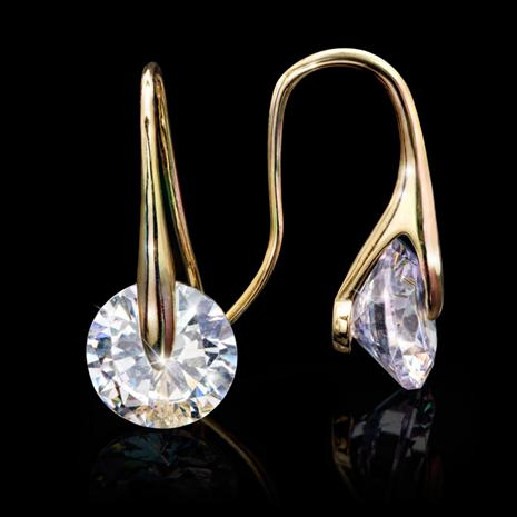 Solitaire Drop Earrings - Gold Finished
