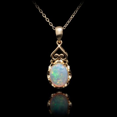 Gold Finished Sterling Silver Australian Opal Pendant & Chain