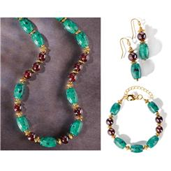 Nefertiti Chrysocolla & Garnet Collection