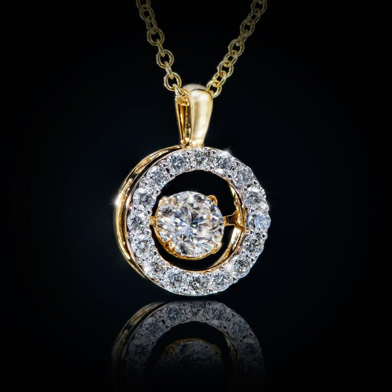 Ladies 14kt Yellow Gold Dancing Diamond Pendant (0.25ct center stone)