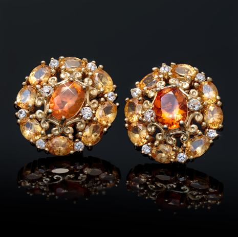 Fire Opal and Spessartite Earrings