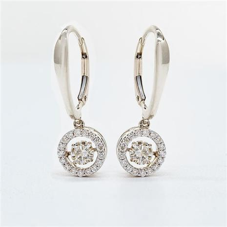 14K White Gol Gold Dancing Diamonds Earrings (.43 ctw)