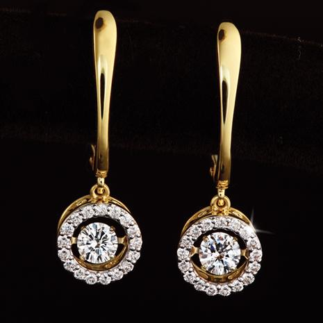 14K Yellow Gold Dancing Diamond Earrings (3/8 ctw)