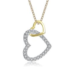 Gold Plated and Stainless Steel DiamondAura Heart to Heart Pendant